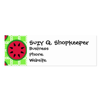 Bright Summer Picnic Watermelons on Green Squares Mini Business Card