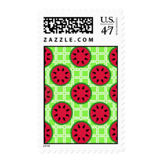 Bright Summer Picnic Watermelons on Green Squares Postage