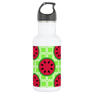 Bright Summer Picnic Watermelons on Green Squares Stainless Steel Water Bottle