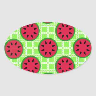 Bright Summer Picnic Watermelons on Green Squares Oval Stickers