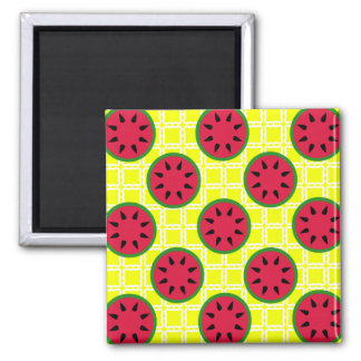 Bright Summer Picnic Watermelons on Yellow Squares 2 Inch Square Magnet
