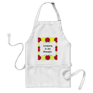 Bright Summer Picnic Watermelons on Yellow Squares Adult Apron