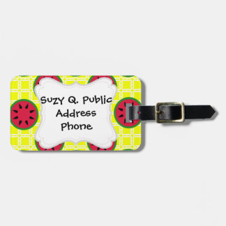 Bright Summer Picnic Watermelons on Yellow Squares Bag Tag