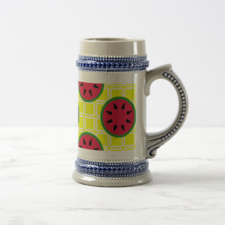 Bright Summer Picnic Watermelons on Yellow Squares Beer Stein