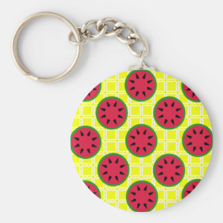 Bright Summer Picnic Watermelons on Yellow Squares Keychain