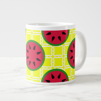 Bright Summer Picnic Watermelons on Yellow Squares Large Coffee Mug