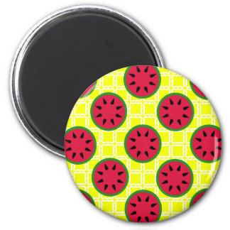 Bright Summer Picnic Watermelons on Yellow Squares Magnet