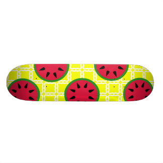 Bright Summer Picnic Watermelons on Yellow Squares Skate Boards