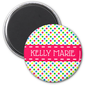 Bright Summer Polka Dots on White Party Favor Magnet