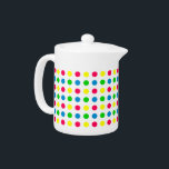 "Bright Summer Polka Dots on White Teapot<br><div class=""desc"">Cute polka dots in shades of pink,  green,  yellow and blue on a solid white teapot from our Bright Summer color palette.</div>"