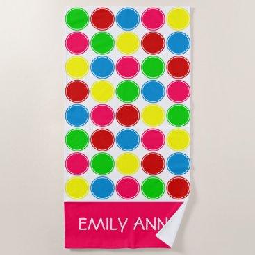 Beach Themed Bright Summer Polka Dots Personalized Beach Towel