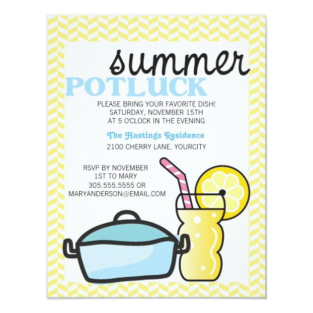 bright summer potluck custom invitations MEMES