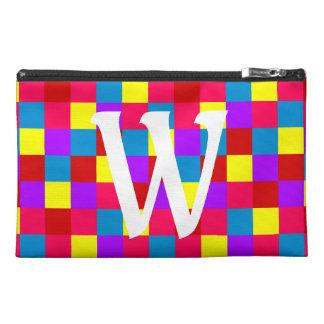 Bright Summer Quilt Squares Monogram Travel Accessory Bag
