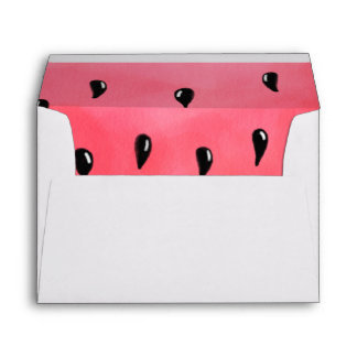 Bright summer red green watercolor watermelon envelope
