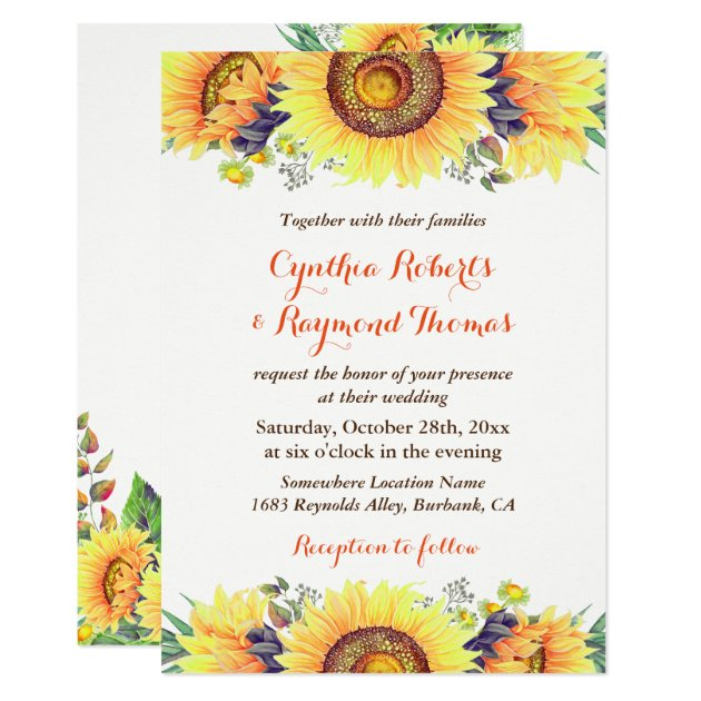 Bright Sunflower Bouquet Rustic Chic Wedding Card