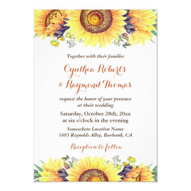 Bright Sunflower Bouquet Rustic Chic Wedding Card (back side)