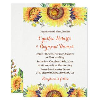 Bright Sunflower Bouquet Rustic Chic Wedding Invitation