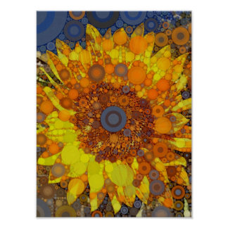 Bright Sunflower Circle Mosaic Digital Art Print