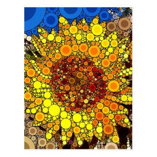 Bright Sunflower Circle Mosaic Digital Art Print Post Card