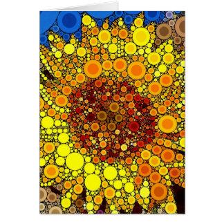 Bright Sunflower Circle Mosaic Digital Art Print Stationery Note Card