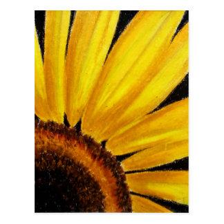 Bright Sunflower - Oil pastel print Postcard