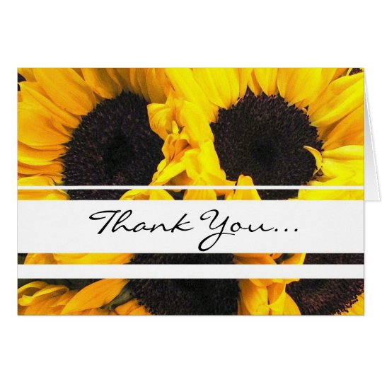 Bright sunflower thank you card