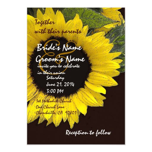 Bright Sunflower Wedding Metallic Invites