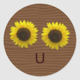 Bright sunflowers & letter U forming a happy face Classic Round Sticker