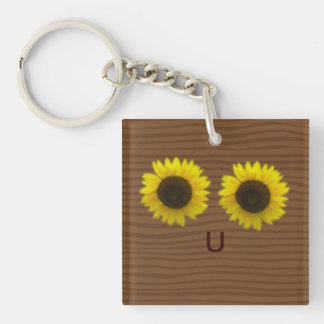 Bright sunflowers & letter U forming a happy face Keychain