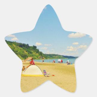 Bright Sunny Beach Day Star Sticker