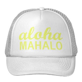 Bright Sunny Yellow Aloha Mahalo Typography