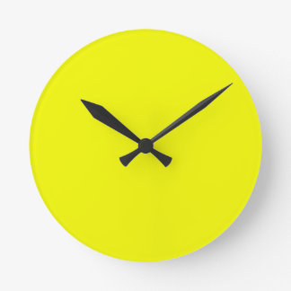 Bright Sunny Yellow Color Only Custom Products Round Wallclocks