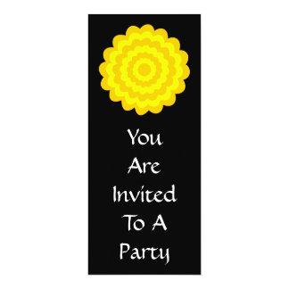 Bright sunny yellow flower. On Black. 4x9.25 Paper Invitation Card