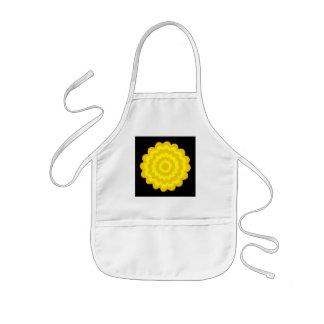 Bright sunny yellow flower. On Black. Kids' Apron