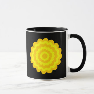 Bright sunny yellow flower. On Black. Mug