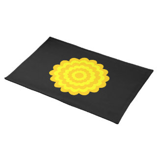 Bright sunny yellow flower. On Black. Placemat