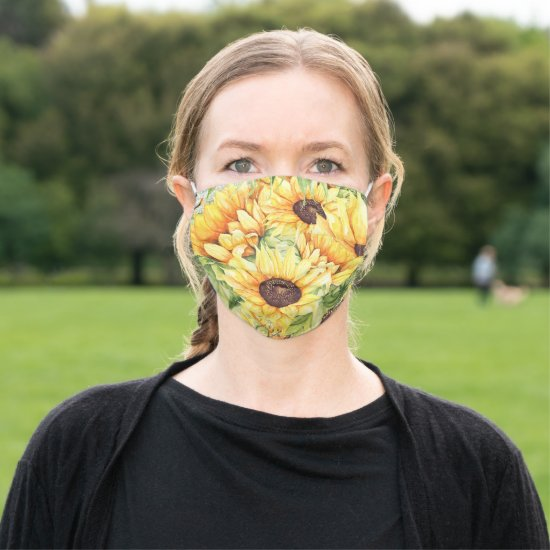 Bright Sunny Yellow Sunflowers and Greenery Adult Cloth Face Mask