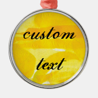Bright Sunny Yellow Torn Paper Collage Metal Ornament