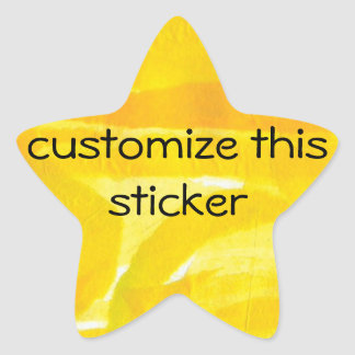 Bright Sunny Yellow Torn Paper Collage Star Sticker