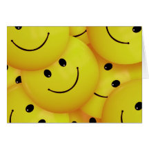 BRIGHT SUNSHINE YELLOW HAPPY FACES CARTOON PATTERN GREETING CARD