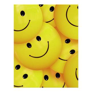 BRIGHT SUNSHINE YELLOW HAPPY FACES CARTOON PATTERN LETTERHEAD