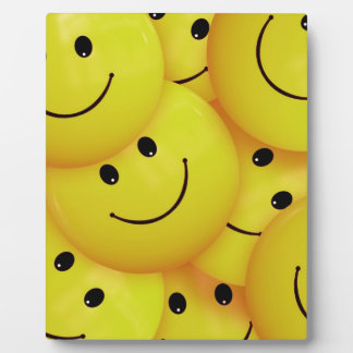BRIGHT SUNSHINE YELLOW HAPPY FACES CARTOON PATTERN PLAQUE