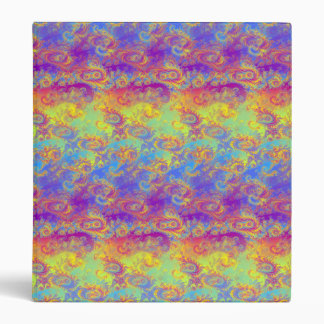 Bright Swirl Fractal Patterns Rainbow Psychedelic 3 Ring Binder