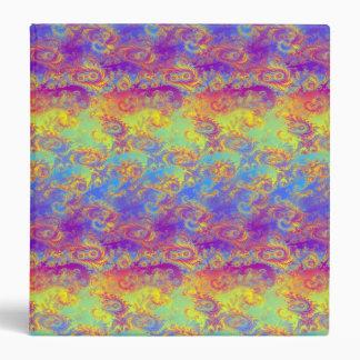 Bright Swirl Fractal Patterns Rainbow Psychedelic 3 Ring Binder