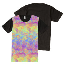 Bright Swirl Fractal Patterns Rainbow Psychedelic All-Over-Print T-Shirt