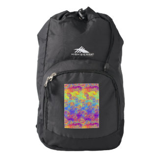 Bright Swirl Fractal Patterns Rainbow Psychedelic Backpack
