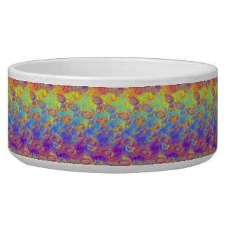Bright Swirl Fractal Patterns Rainbow Psychedelic Bowl