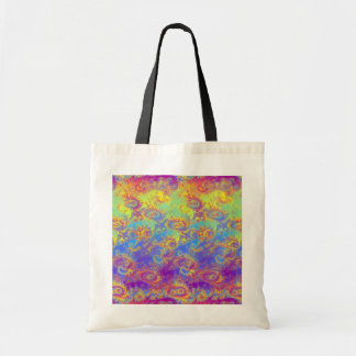 Bright Swirl Fractal Patterns Rainbow Psychedelic Budget Tote Bag