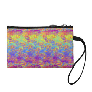 Bright Swirl Fractal Patterns Rainbow Psychedelic Coin Wallet