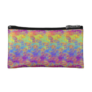 Bright Swirl Fractal Patterns Rainbow Psychedelic Cosmetic Bag
